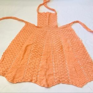 Vintage crochet salmon colored apron